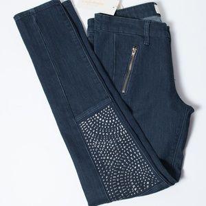 Cafe Denim Embellished Silver Skinny Jeans 6 NWT